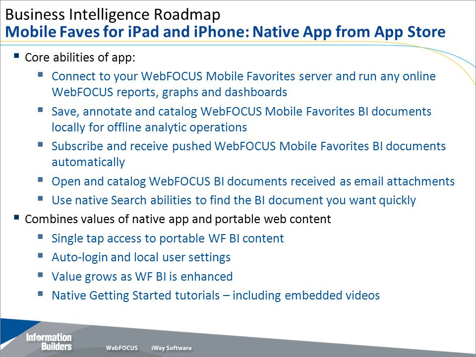 Business Intelligence Roadmap Mobile Faves for iPad and iPhone: Native App from App Store
