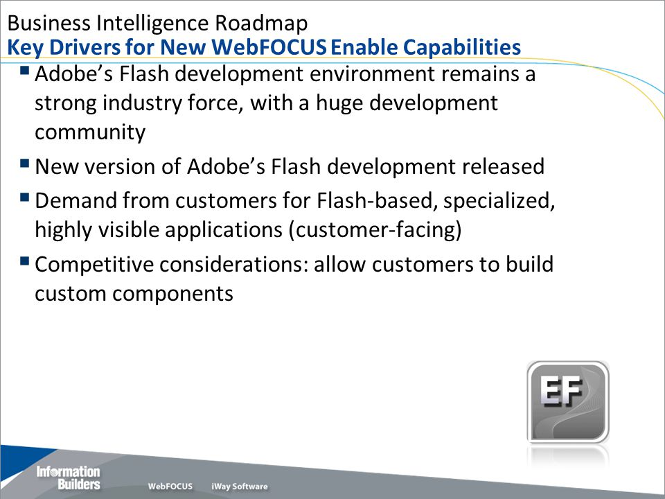 Business Intelligence Roadmap Key Drivers for New WebFOCUS Enable Capabilities