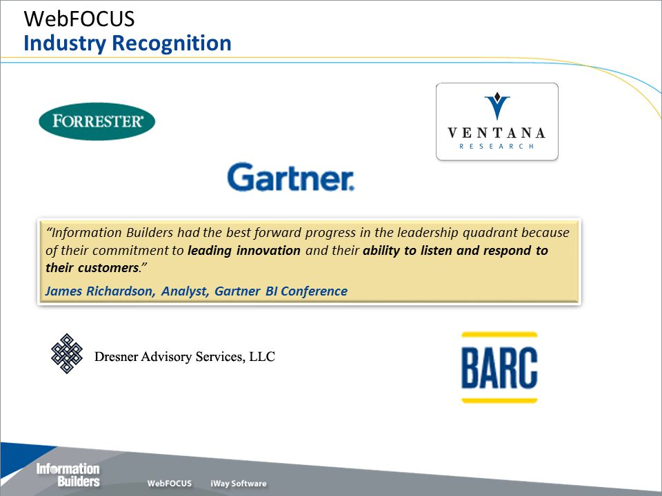 WebFOCUS Industry Recognition
