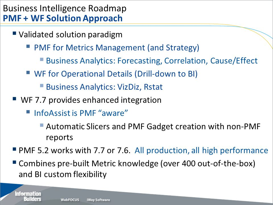 Business Intelligence Roadmap PMF + WF Solution Approach