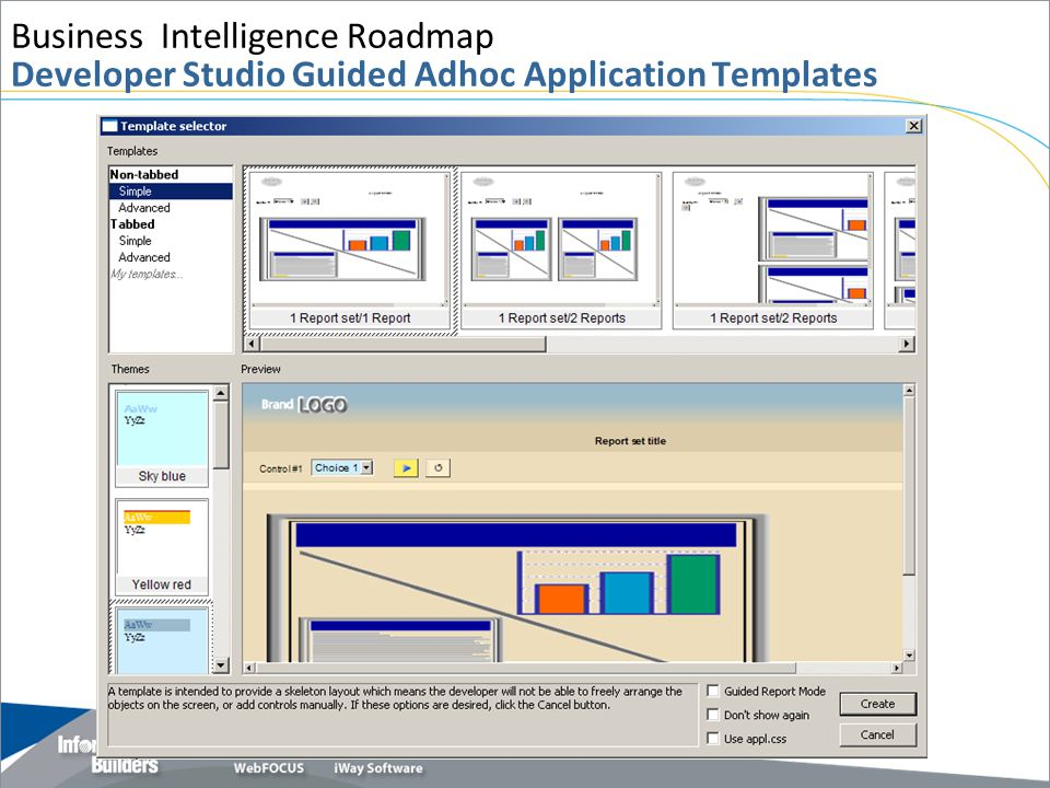 Business Intelligence Roadmap Developer Studio Guided Adhoc Application Templates