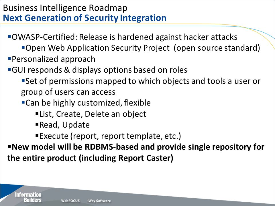 Business Intelligence Roadmap Next Generation of Security Integration