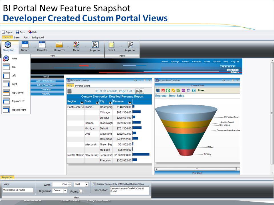 BI Portal New Feature Snapshot Developer Created Custom Portal Views