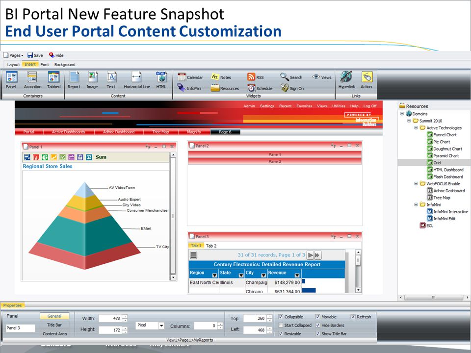 BI Portal New Feature Snapshot End User Portal Content Customization