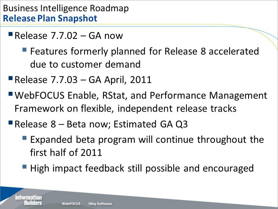Business Intelligence Roadmap Release Plan Snapshot