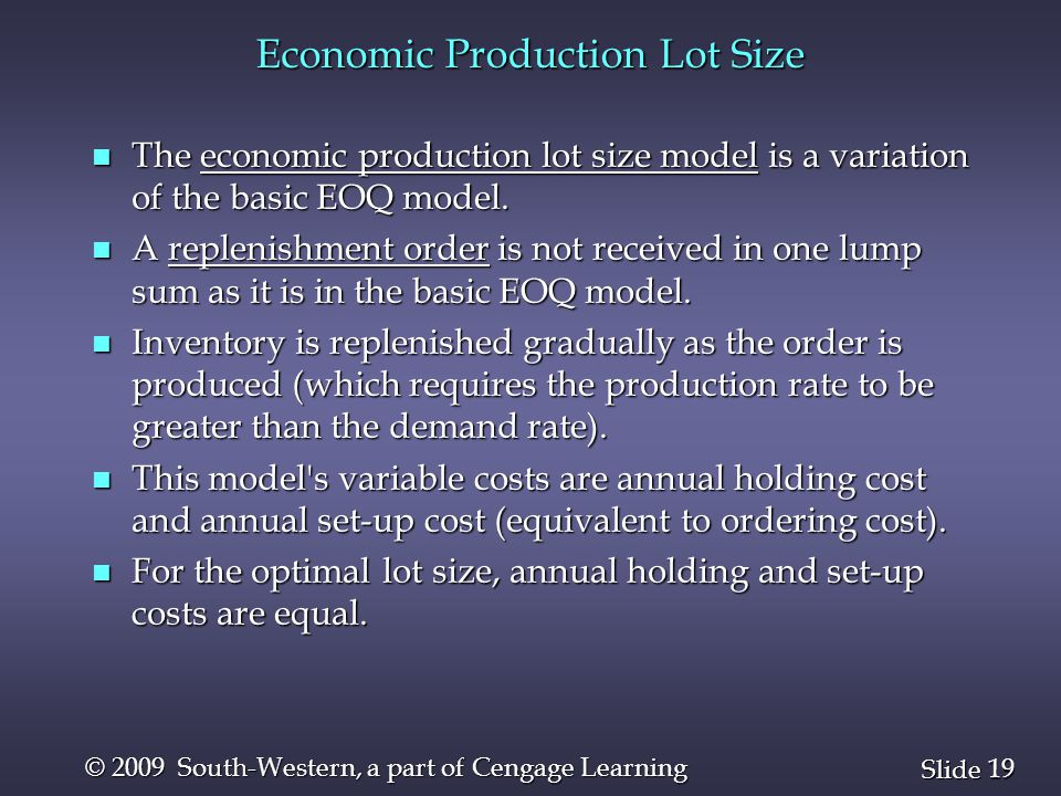 Economic Production Lot Size