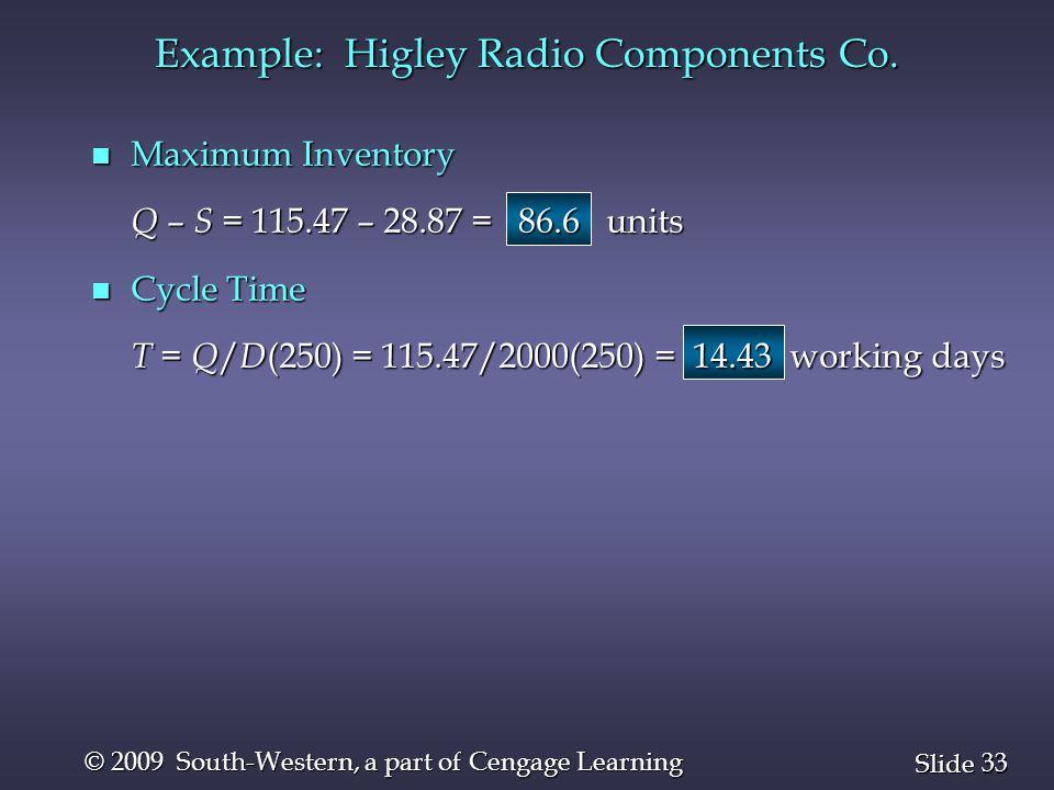 Example: Higley Radio Components Co.