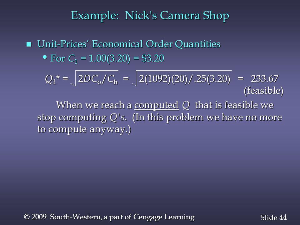 Example: Nick s Camera Shop