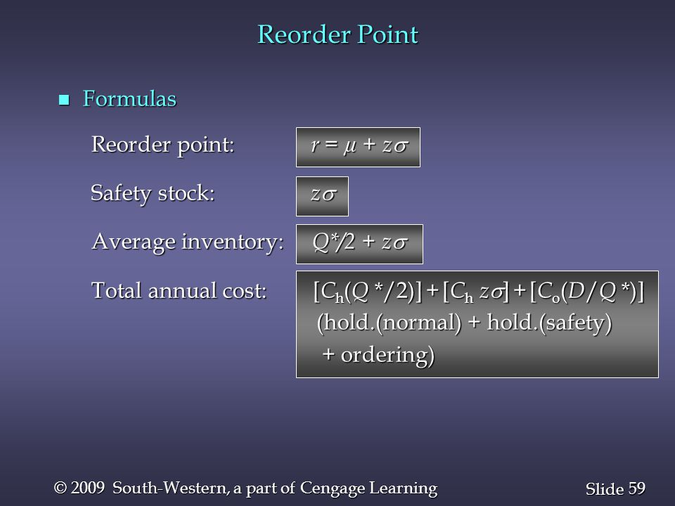 Reorder Point Formulas Reorder point: r = µ + z Safety stock: z