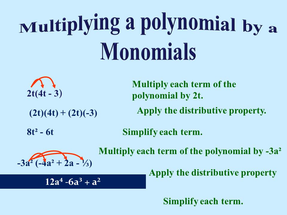 Multiplying a polynomial by a Monomials