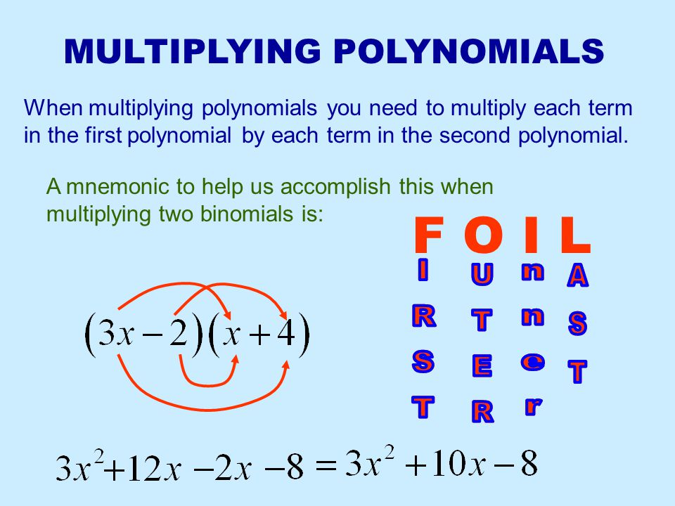 F O I L MULTIPLYING POLYNOMIALS AST AST IRST IRST UTER UTER nner nner