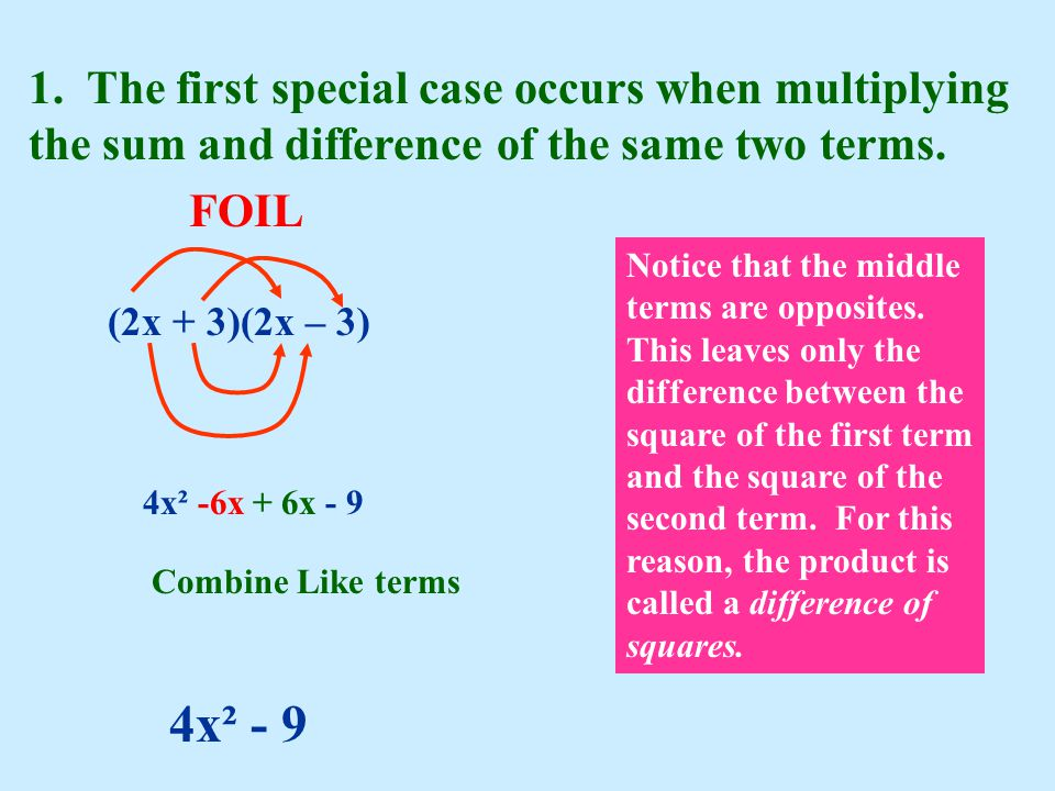 1. The first special case occurs when multiplying the sum and difference of the same two terms.