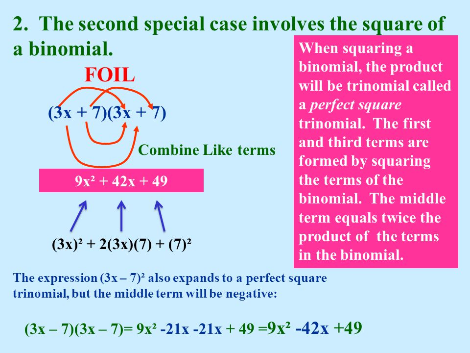 2. The second special case involves the square of a binomial.