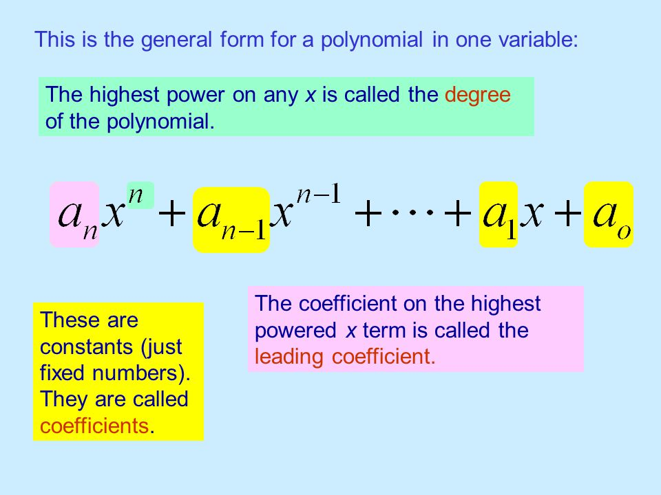 This is the general form for a polynomial in one variable: