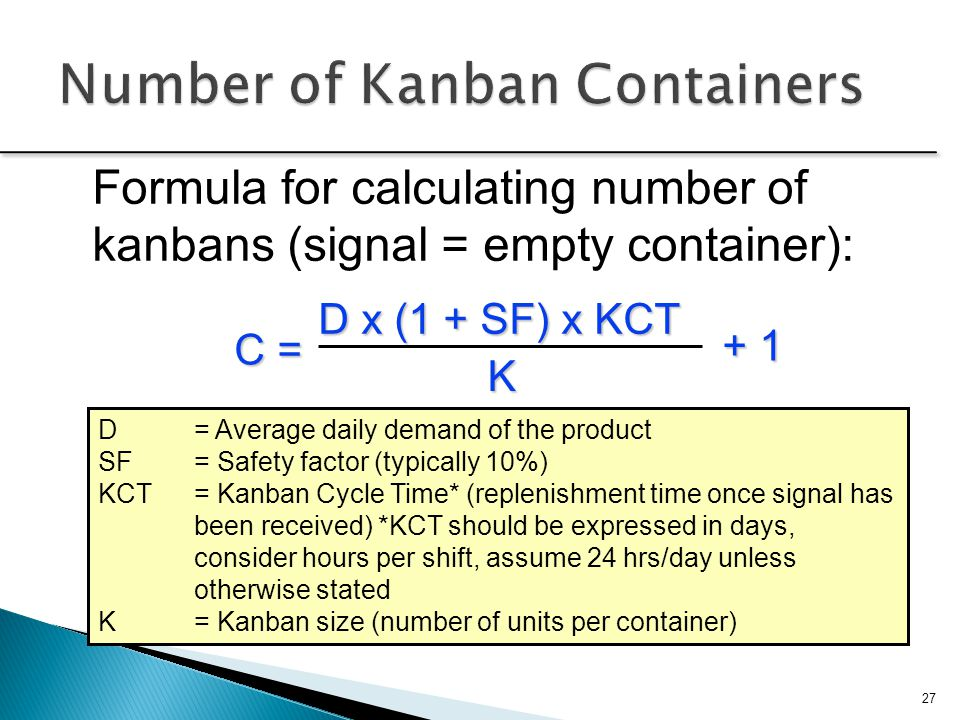 Number of Kanban Containers