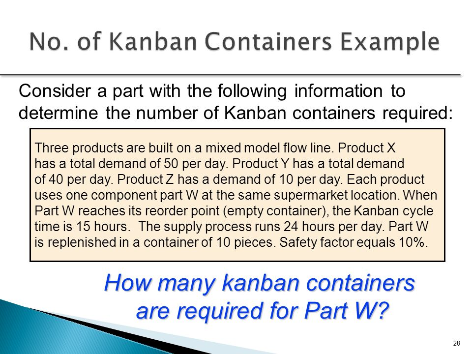 No. of Kanban Containers Example