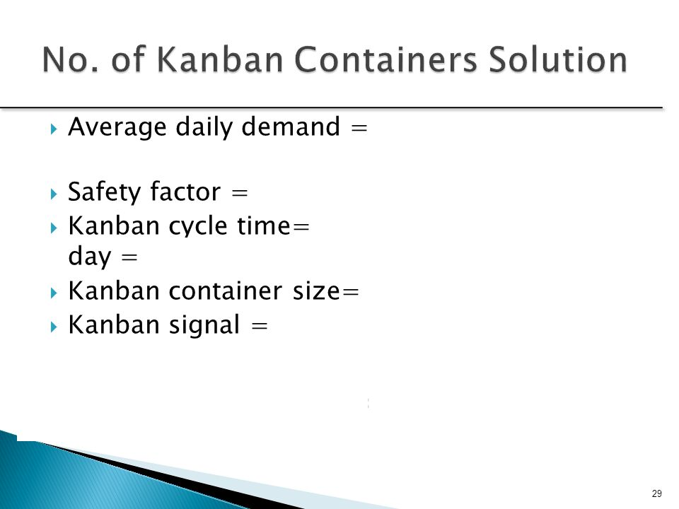 No. of Kanban Containers Solution