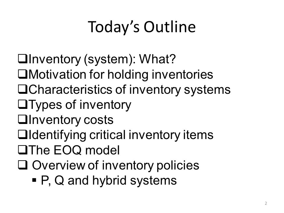 Today's Outline Inventory (system): What