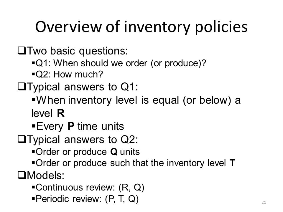 Overview of inventory policies