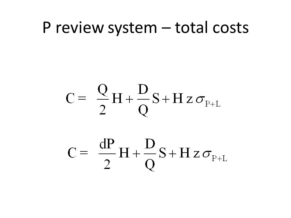 P review system – total costs