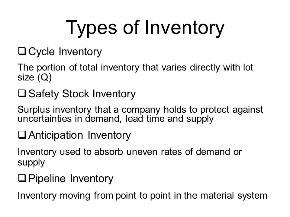 Types of Inventory Cycle Inventory Safety Stock Inventory