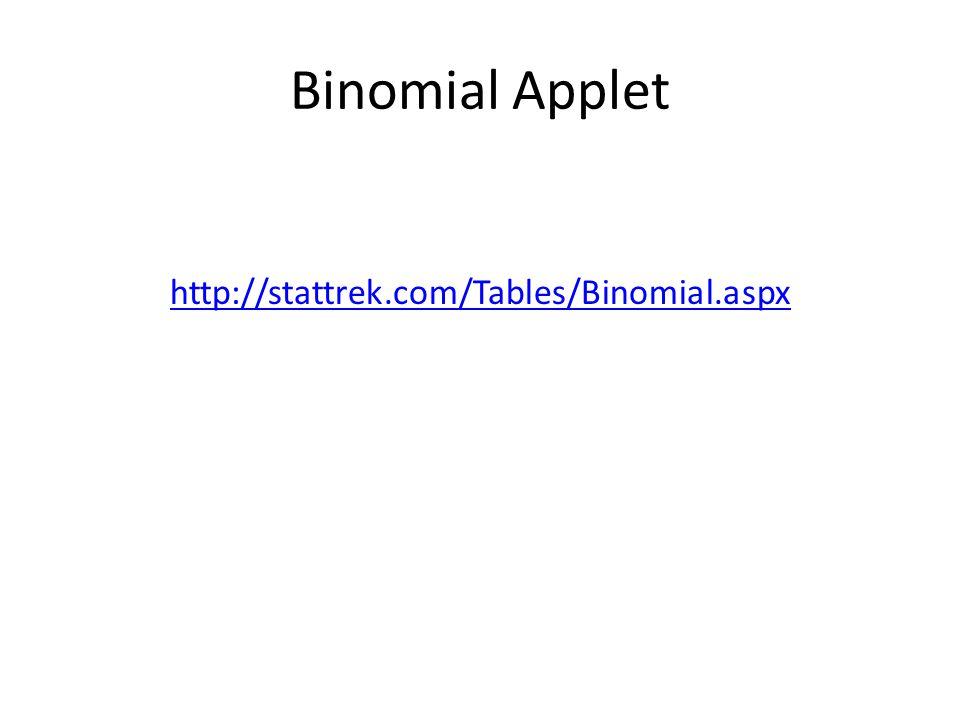 Binomial Applet http://stattrek.com/Tables/Binomial.aspx
