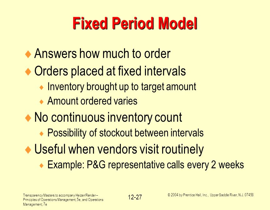 Fixed Period Model Answers how much to order
