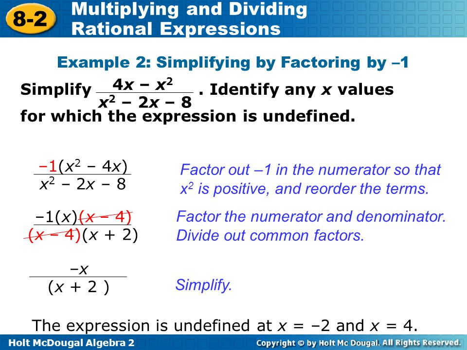 Example 2: Simplifying by Factoring by –1