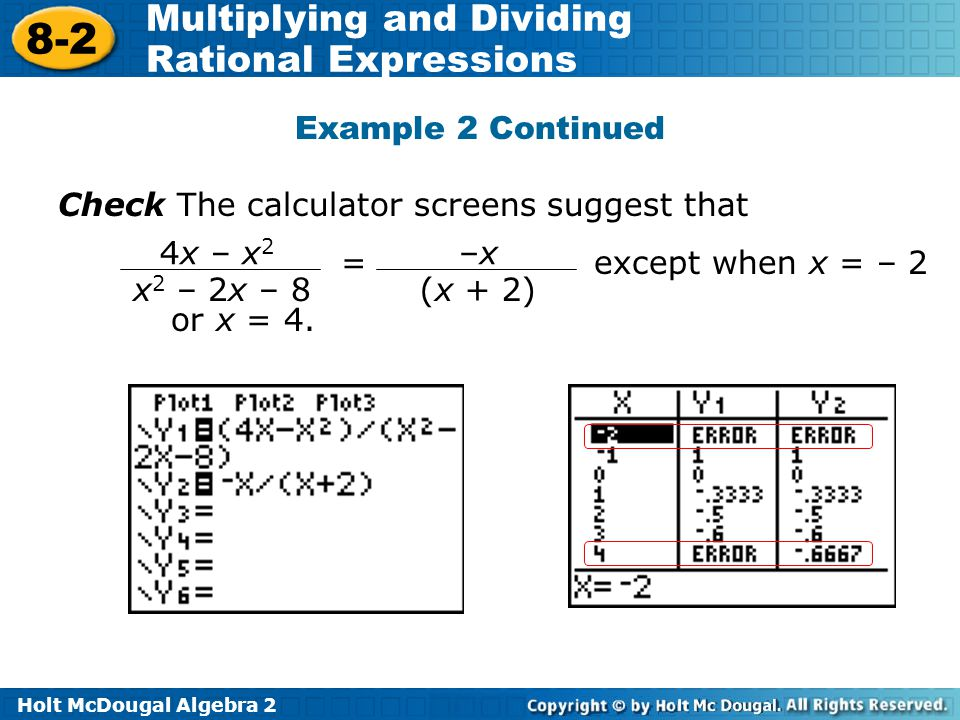 Example 2 Continued Check The calculator screens suggest that. = except when x = – 2 or x = 4.