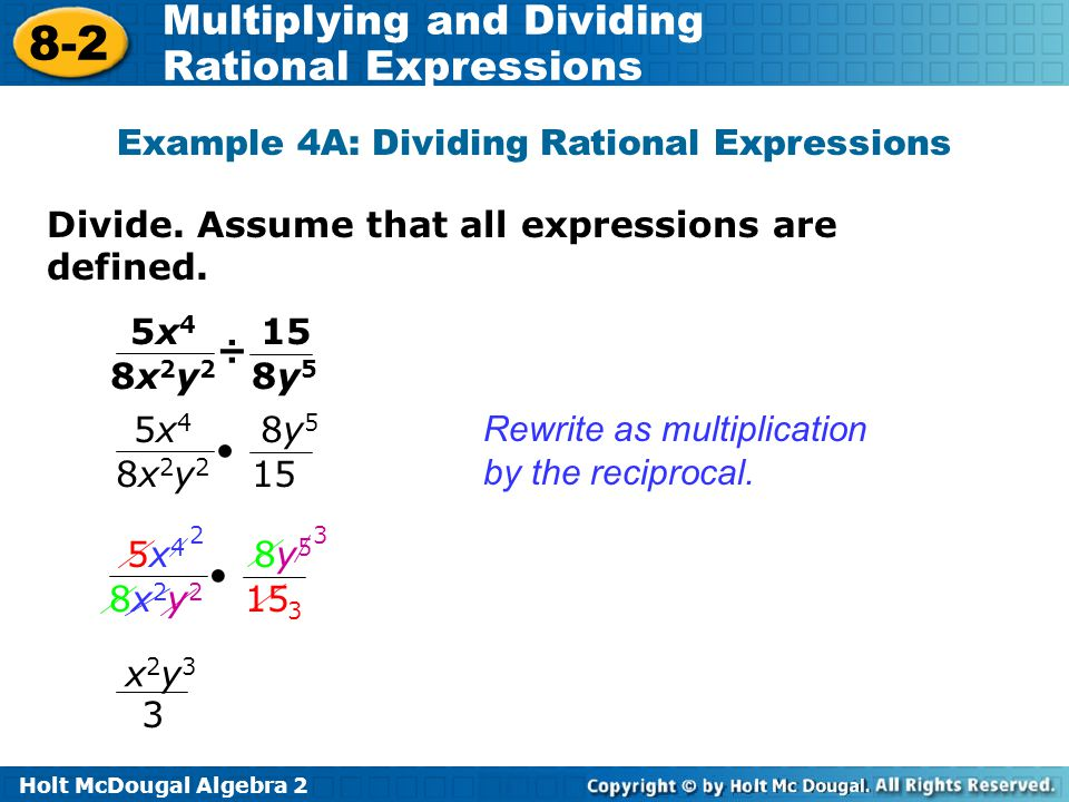 Example 4A: Dividing Rational Expressions