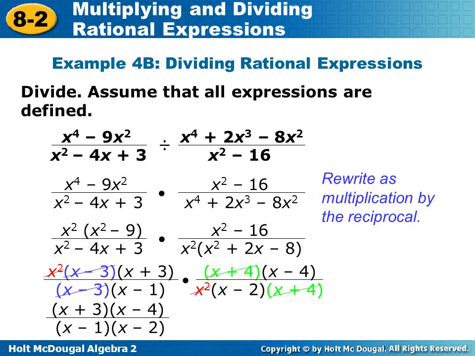 Example 4B: Dividing Rational Expressions