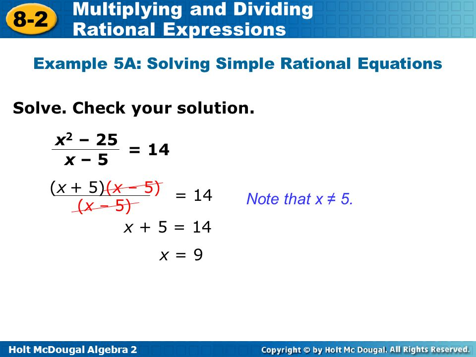 Example 5A: Solving Simple Rational Equations