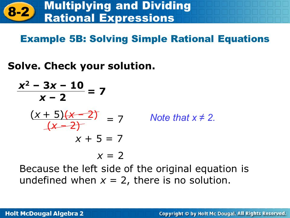 Example 5B: Solving Simple Rational Equations