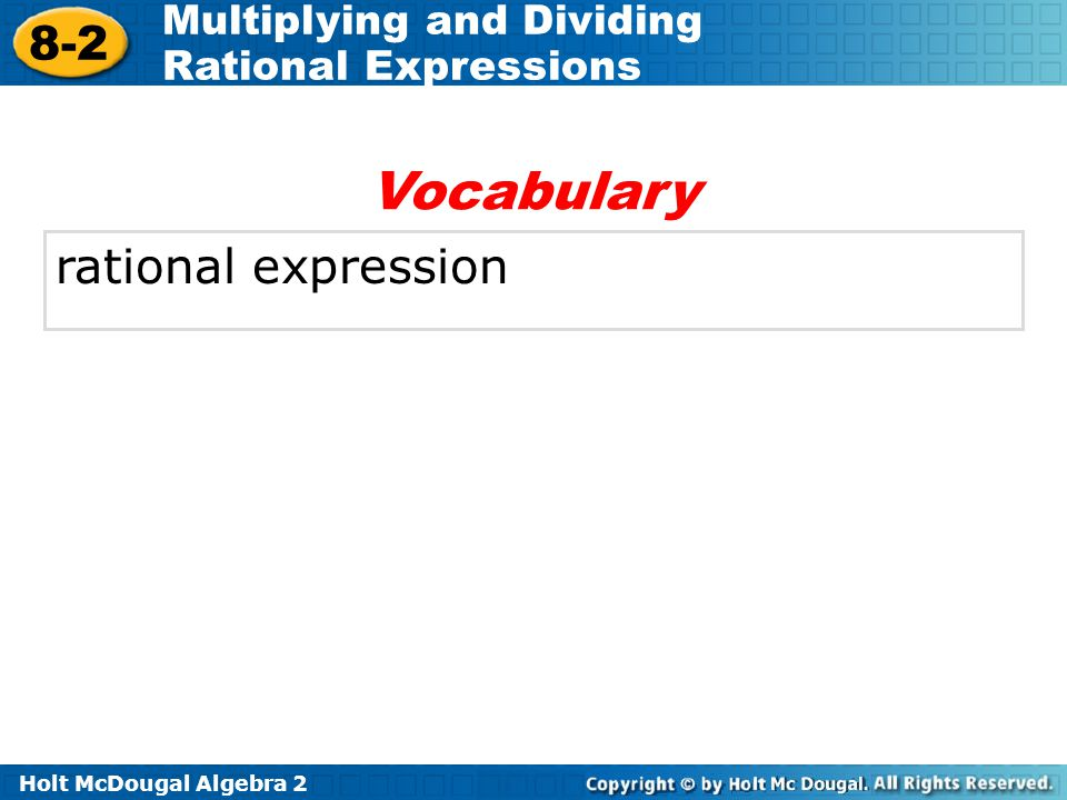 Vocabulary rational expression