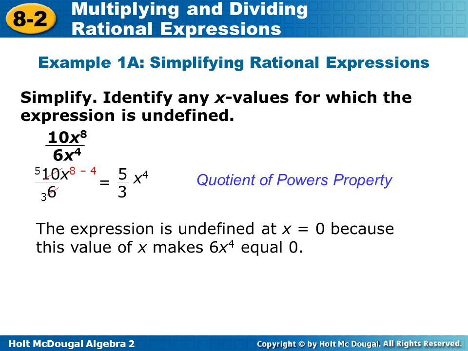 Example 1A: Simplifying Rational Expressions