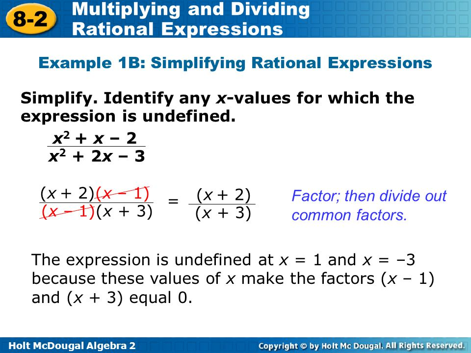 Example 1B: Simplifying Rational Expressions