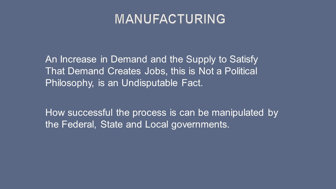 Manufacturing An Increase in Demand and the Supply to Satisfy That Demand Creates Jobs, this is Not a Political Philosophy, is an Undisputable Fact.
