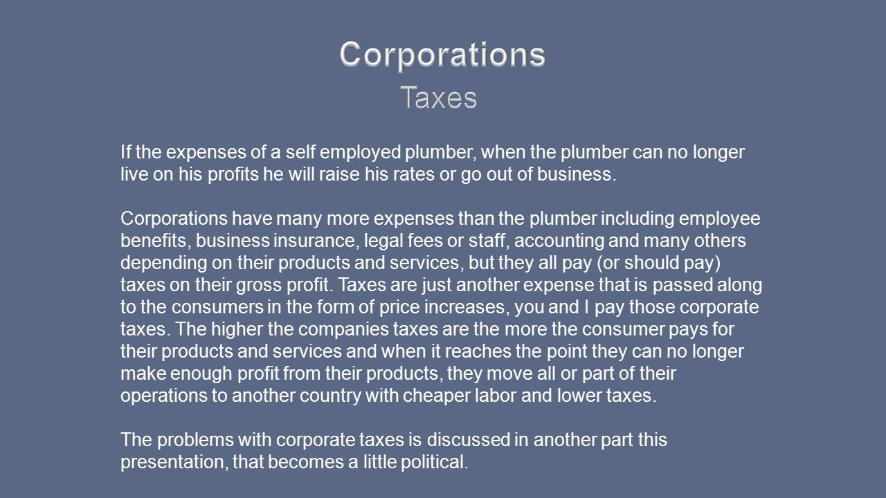 Corporations Taxes.