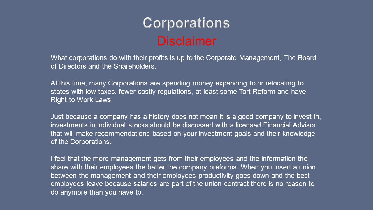 Corporations Disclaimer