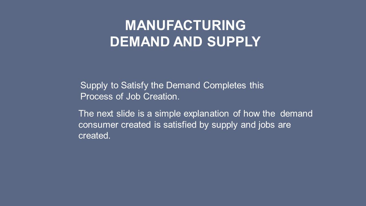 Manufacturing DEMAND AND SUPPLY