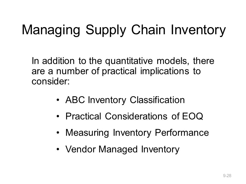 Managing Supply Chain Inventory
