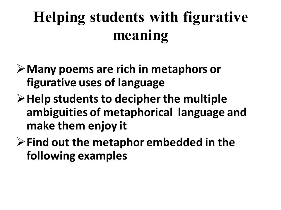 Helping students with figurative meaning