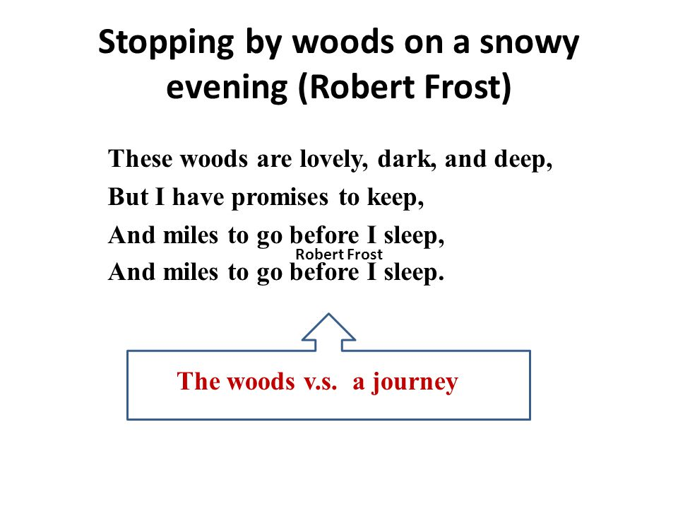Stopping by woods on a snowy evening (Robert Frost)