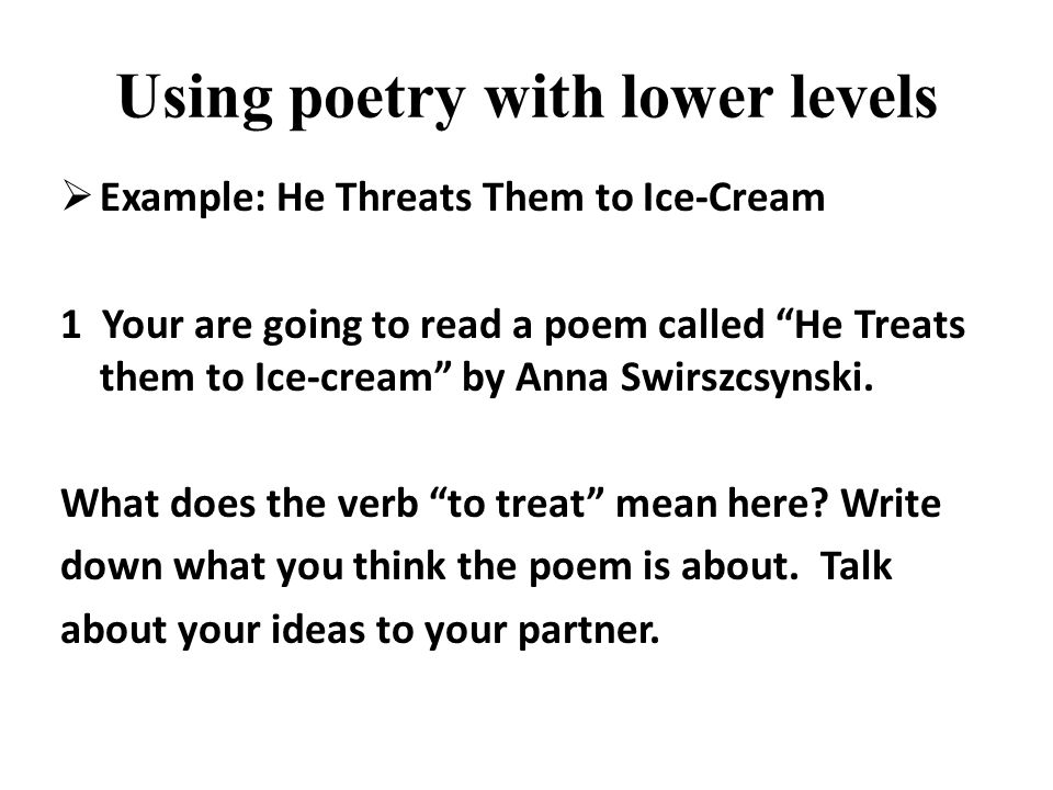 Using poetry with lower levels