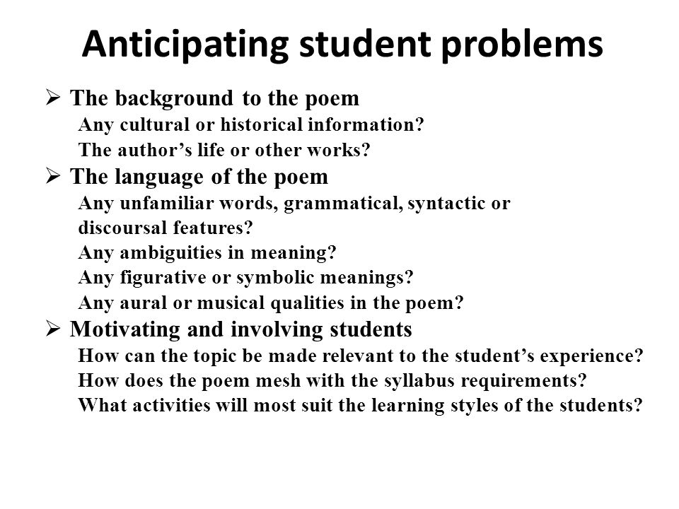 Anticipating student problems