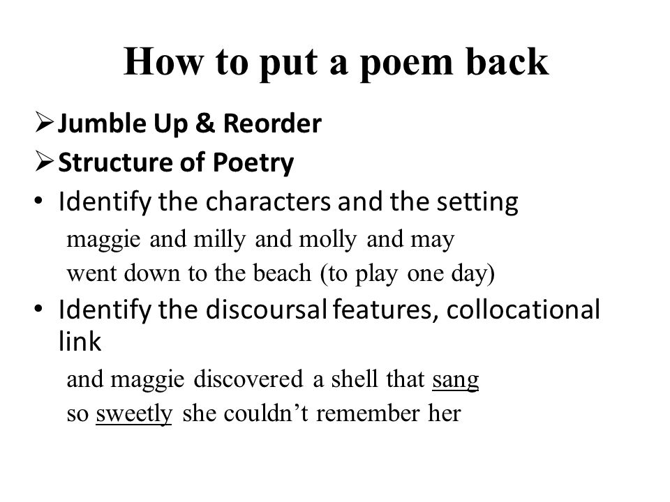How to put a poem back Jumble Up & Reorder Structure of Poetry