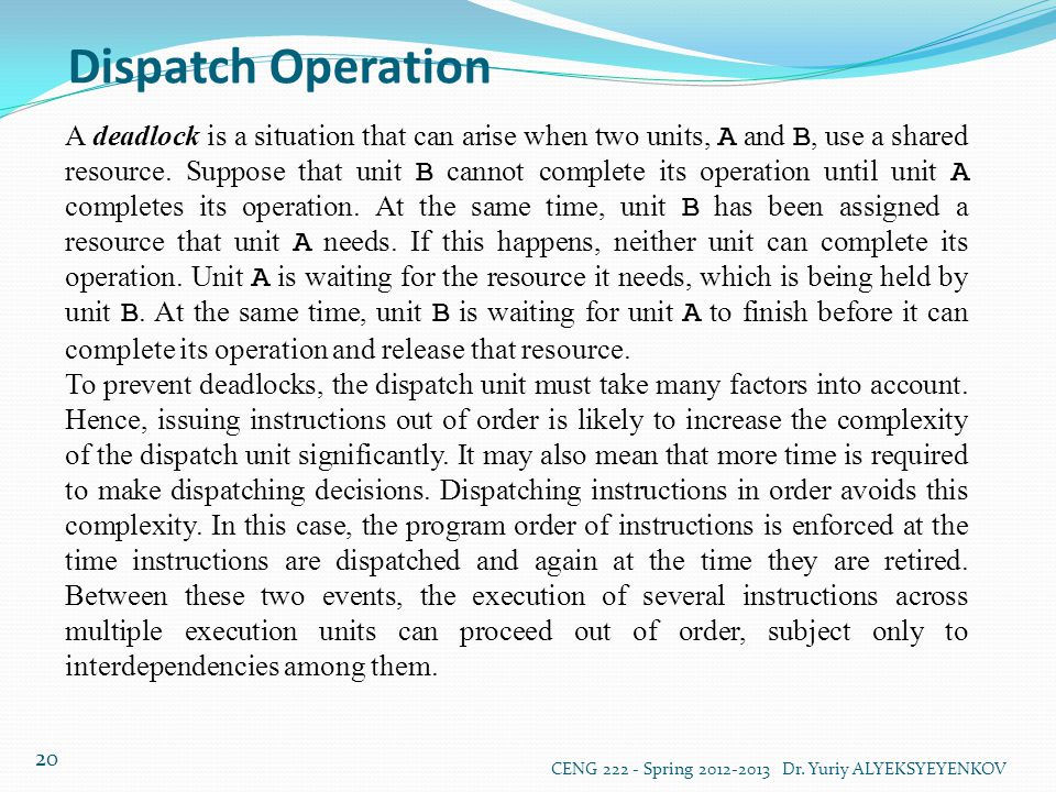 Dispatch Operation