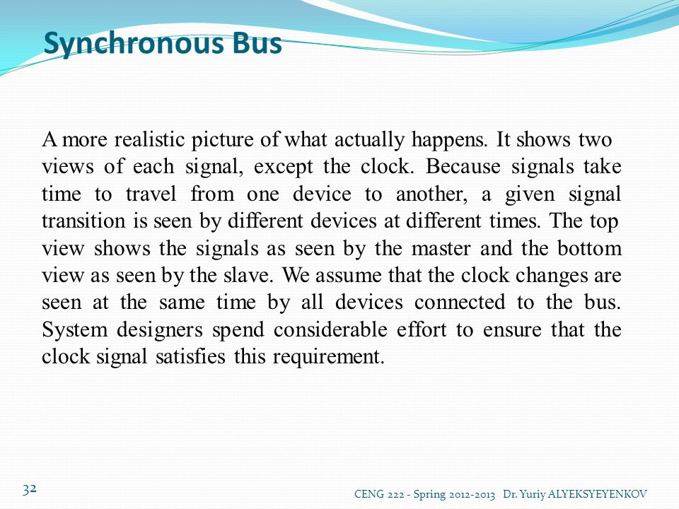 Synchronous Bus A more realistic picture of what actually happens. It shows two.