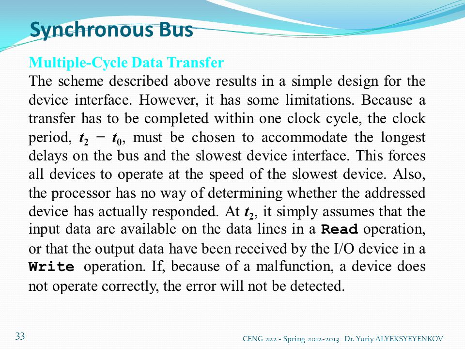 Synchronous Bus Multiple-Cycle Data Transfer