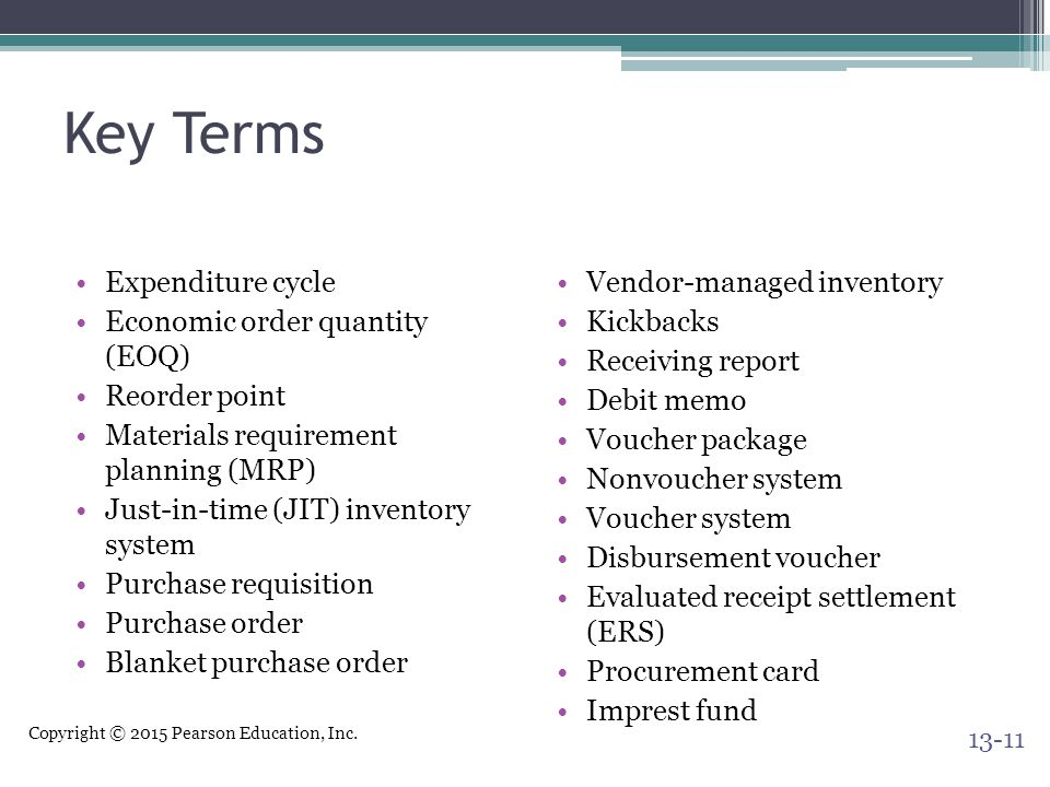 Key Terms Expenditure cycle Economic order quantity (EOQ)